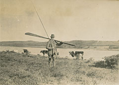 Colonel Benson with dapping rod on Lough Derravaragh, Westmeath, September 1919